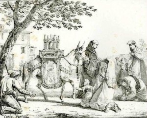 L'âne portant des reliques (Carle Vernet, Godefroy Engelmann, 19e siècle)