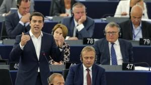 Alexis Tsipras devant le Parlement européen le 8 juillet 2015  (crédit photo : francetvinfo)